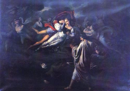 Vitale Sala (Cernusco Lombardone, 1803 – Milano, 1835): Dante incontra Paolo e Francesca, 1823. Olio su tela, cm 162×228. Milano, Accademia di Brera.