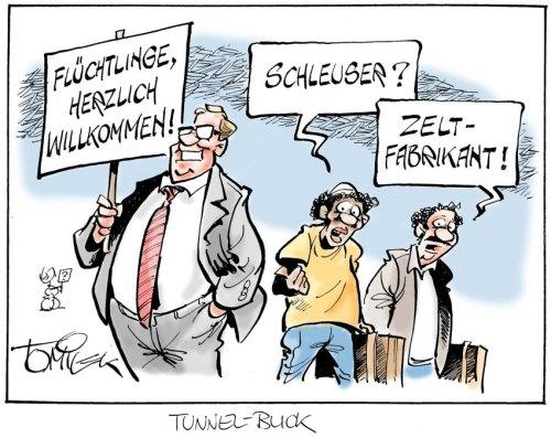 Karikaturen / Flüchtlinge / Tomicek